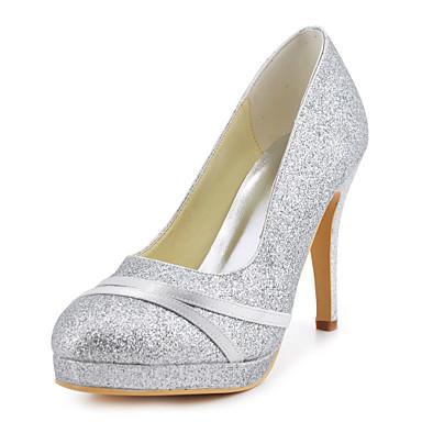Women's Spring / Summer / Fall Heels Satin / Stretch Satin Wedding Stiletto Heel Sparkling Glitter Blue / Red / Ivory / White / Gold