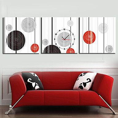modern stil geometrisi duvar saati tuval 3adet duvar saatleri dekorasyon