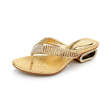 Comfortable Leatherette Chunky Heel Slippers with Rhinestone Casual Shoes(More Colors)