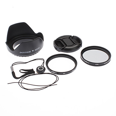 49mm UV CPL Filter Lens + capac + Keeper + Hood pentru Sony Alpha NEX-7 NEX-5N NEX-C3