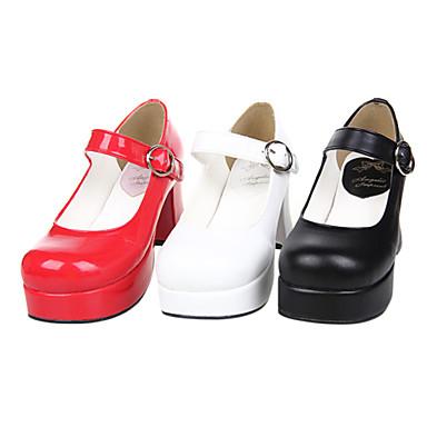 Ayakkabılar Klasik/Geleneksel Lolita Elyapımı Yüksek Topuk Ayakkabılar Solid 7.5 CM Beyaz Siyah Kırmzı Uyumluluk PU Deri/Poliüretan Deri
