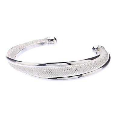 Kadın's Som Gümüş Gümüş Bilezikler Halhallar - Eşsiz Tasarım Temel Moda Mücevher Gümüş Bilezikler Uyumluluk Yılbaşı Hediyeleri Düğün