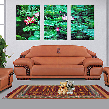 Stretched Canvas Art Floral Lotus Set of 3