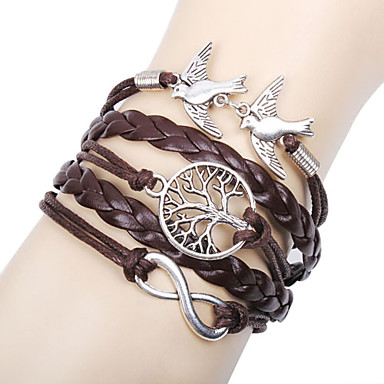 cheap Men's Jewelry-Women's Layered woven Charm Bracelet Wrap Bracelet Leather Bracelet Leather Love Infinity life Tree Ladies Personalized Basic Multi Layer Bracelet Jewelry Brown For Christmas Gifts Gift Daily Casual
