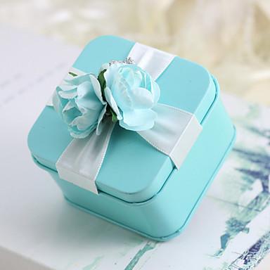 abordables Support de Cadeaux pour Invités-Créatif Cubique Matière Titulaire de Faveur avec Ruban Motif Fleur Boîtes à cadeaux Cannette de cadeau Autres Accessoires de Mariage