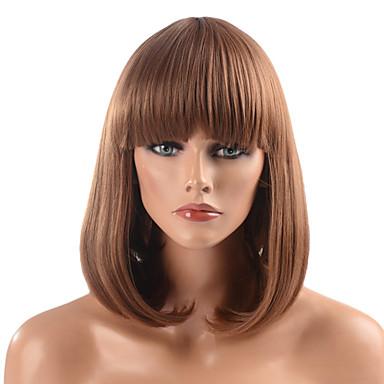 Sentetik Peruklar Vücut Dalgası Katmanlı Saç Kesimi Bob Saç Kesimi Şelale Kahverengi Kadın's Komple Dantel Orta Orta Sentetik Saç Günlük