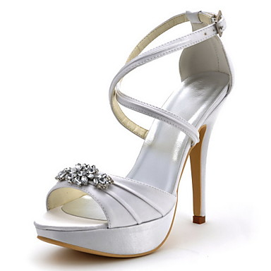 Elegant Bridal Satin Sandals with Ruches/Rhinestone Wedding Shoes(More Colors)