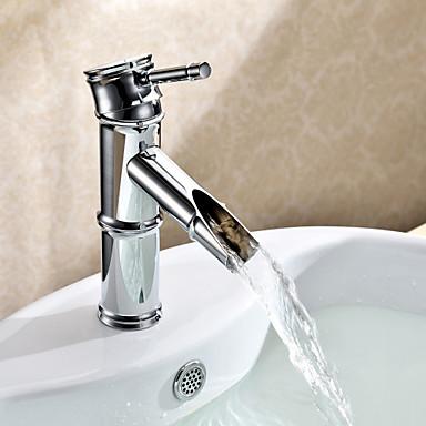 Art Deco/Retro Centerset Ceramic Valve One Hole Single Handle One Hole Chrome, Bathroom Sink Faucet
