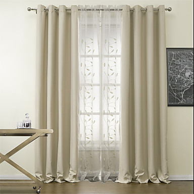 Rod Pocket Grommet Top Tab Double Pleat Two Panels Curtain Modern Polyester Material Blackout Curtains