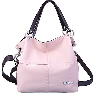 Women Bags PU Tote for Casual All Seasons Black Beige Brown Red Pink