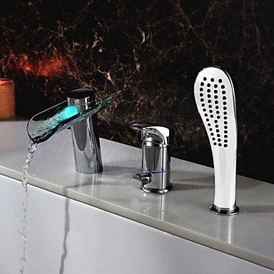 Moderne Diffusion large Jet pluie LED Soupape céramique 3 trous Mitigeur Trois trous Chrome, Robinet lavabo