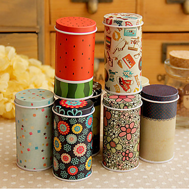 Lovely Mini Tea Canister Carrying Tin Box(Random Color)