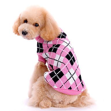 abordables Ropa para Perro-Perro Suéteres Ropa para Perro Ajedrez Rosa Tejido de lana Disfraz Para Primavera & Otoño Invierno Hombre Mujer Mantiene abrigado