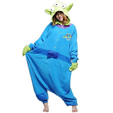 Yetişkin Kigurumi Pijama Monster Mavi canavar Onesie Pijama Polar Kumaş Cosplay İçin Erkek ve Kadın Hayvan Sleepwear Karikatür cadılar bayramı Festival / Tatil