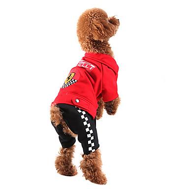 pejsky Kombinéza Červená Černá Oblečení pro psy Zima Jaro/podzim Barevné bloky Módní