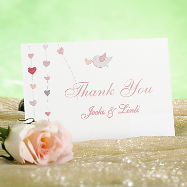Flat Card Wedding Invitations 12 - Thank You Cards Classic Style Pearl Paper 3 ½