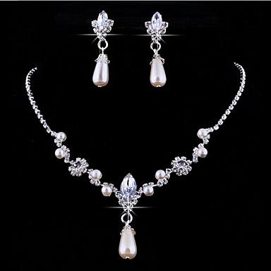 Perle / Krystall / Strass Tropfen Schmuck-Set Ohrringe / Halsketten - Personalisiert / Blumig / Europäisch Schmuckset / Anhängerketten Für