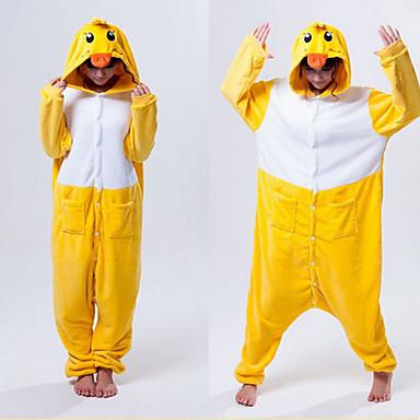 Pijama Kigurumi Rață Pijama Întreagă Costume Lână polară Galben Cosplay Pentru Sleepwear Pentru Animale Desen animat Halloween Festival /