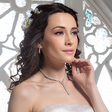 High Quality Czech Rhinestones Alloy Plated Wedding Jewelry Set,Including Necklace And Earrings