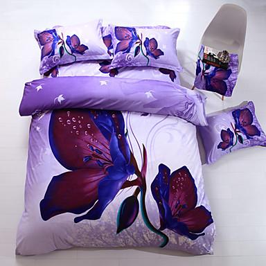 Bettbezug-Sets Blumen Polyester Reaktivdruck Polyester 4-teilig (1 Bettbezug, 1 Bettlaken, 2 Kissenbezüge)
