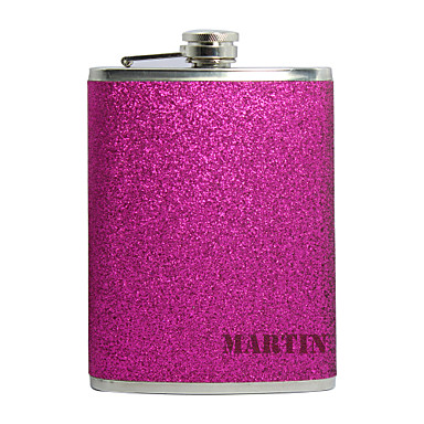 Personalized Father's Day Gift Splash 8oz PU Leather Capital Letters Flask (Rose,Red,Black)