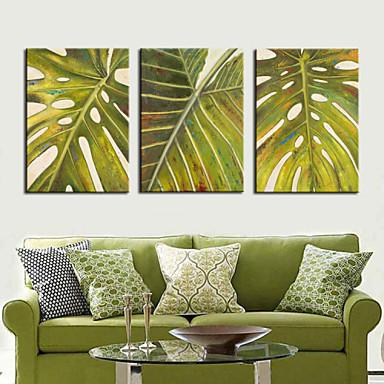 Reprodukce na plátně umění Květiny a rostliny Green Leaf sada 3 ks