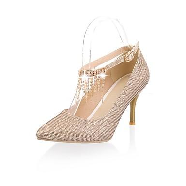 Women's Shoes Leatherette Spring / Summer Mary Jane Stiletto Heel Rhinestone / Sparkling Glitter Black / White / Khaki / Party & Evening