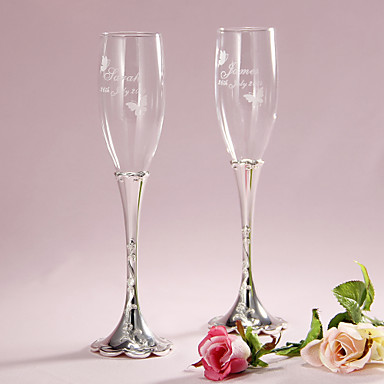 abordables Flûtes à Champagne-Verre sans plomb Flûtes grillage Boîte à cadeau Thème floral Printemps