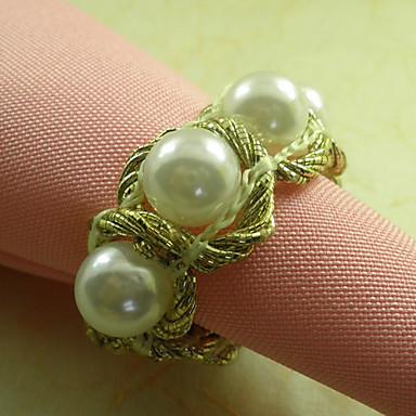 Palace Pearl Svatební ubrousky Ring Set of 6, průměr 4,5 cm
