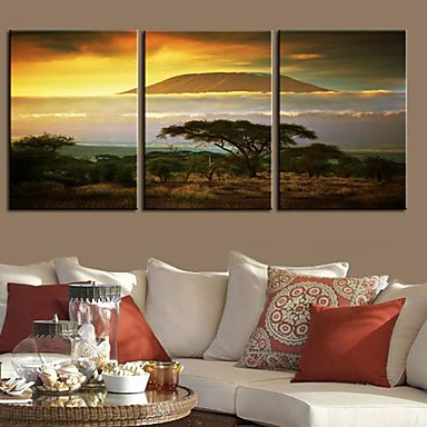 Stretched Canvas Print Canvas Set Landscape Travel Three Panels Vertical Print Wall Decor Home Decoration