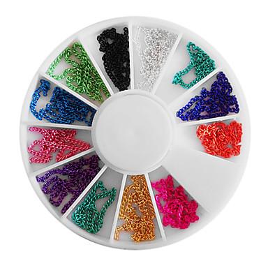 Mixed-farve Bead Chain Wheel Nail Art Dekorationer
