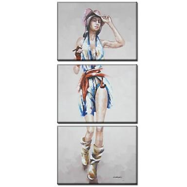 Pictat manual Oameni Trei Panouri Canava Hang-pictate pictură în ulei For Pagina de decorare