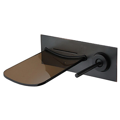 Bathroom Sink Faucet - Waterfall Oil-rubbed Bronze Wall Mounted Single Handle Two Holes / Brass