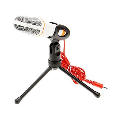 666 3,5-mm-Stereo-Stecker Halterung hohe Qualität ktv Mikrofon (weiß) verkabelt Karaoke-Mikrofon