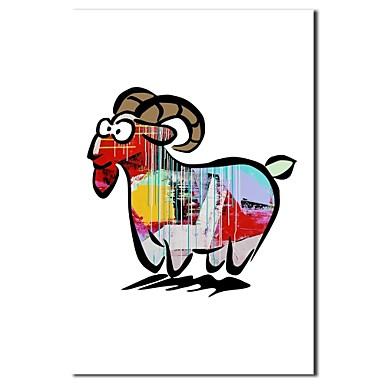 Mână de ulei pictate pictura animale desen animat capră cu cadru întins