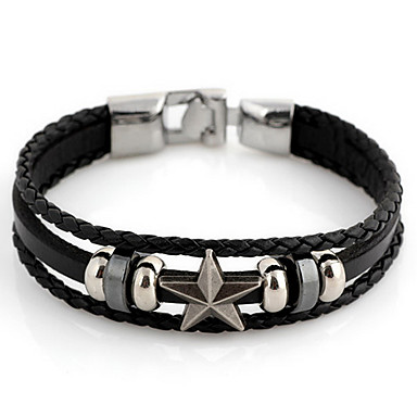 Fashion Star 22cm Unisex Black Leather With Silver Alloy Leather Bracelet(1 Pc) Jewelry Christmas Gifts