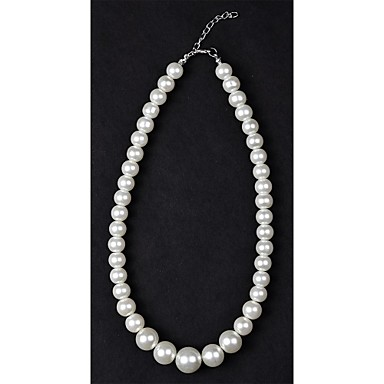 Damen Perle Künstliche Perle Perlenkette Stränge Halskette  -  Silberschwarz Elfenbein Modische Halsketten Für Hochzeit Alltag Normal