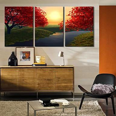Întins Canvas Art Botanică Pomul de River Set de 3