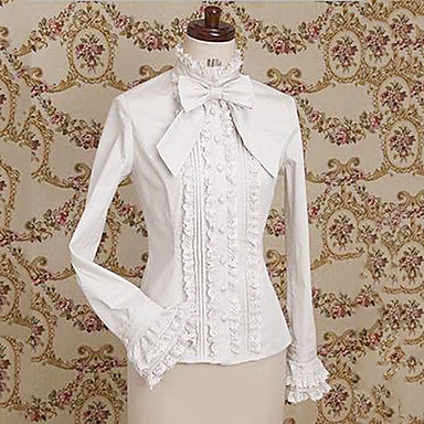 Blouse/Shirt Classic/Traditional Lolita Lolita Cosplay Lolita Dress White Coffee Lace Long Sleeve Lolita Blouse For Polyester
