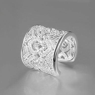 בגדי ריקוד נשים טבעת הצהרה תכשיטים גדולים מתכווננת ארופאי פליז זירקון זירקוניה מעוקבת מצופה כסף תכשיטי תלבושות Party