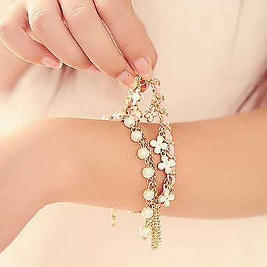 Women's Charm Bracelet Pearl Leather Fabric Alloy Four Leaf Clover Jewelry Christmas Gifts Party Daily Casual