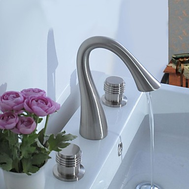 Contemporary Centerset Ceramic Valve Three Holes Two Handles Three Holes Nickel Brushed, Bathroom Sink Faucet
