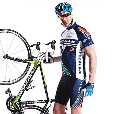 Mysenlan Herrn Kurzarm Fahrradtriktot mit Fahrradhosen - Blau Fahhrad Shorts/Laufshorts Gepolsterte Shorts Trikot/Radtrikot Kleidungs-Sets