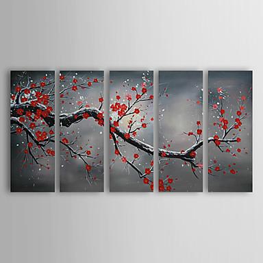 Handgemalte Blumenmuster/Botanisch Horizontal Panorama Segeltuch Hang-Ölgemälde Haus Dekoration Fünf Panele