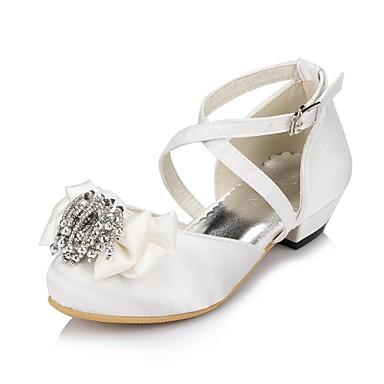 Girls' Shoes Satin Spring Fall Comfort Flats Satin Flower Flower for Wedding Ivory White
