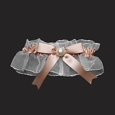 podvezica saten tulle bowknot imitacija biser zlatni pribor za vjenčanje