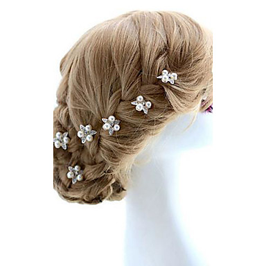 Crystal Imitation Pearl Fabric Alloy Tiaras Hair Pin 1 Wedding Special Occasion Party / Evening Headpiece