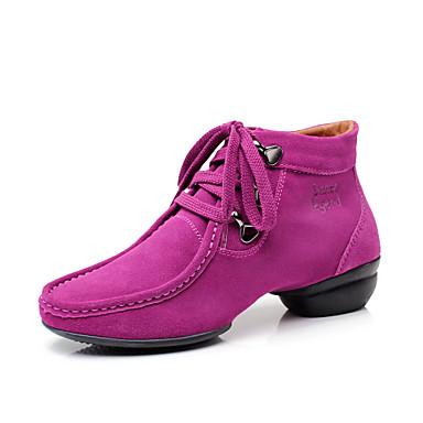 Damă Pantofi Dans Piele de Căprioară Călcâi Adidași Dantelă Negru Maro Fucsia 1
