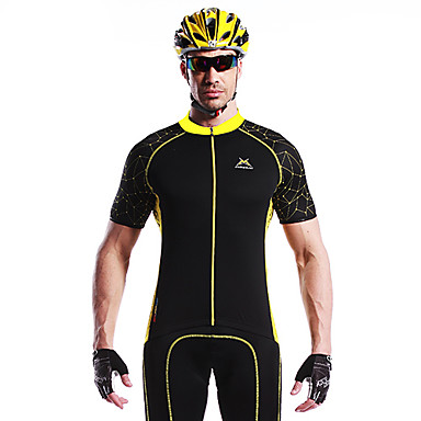 Mysenlan Bărbați Manșon scurt Jerseu Cycling - Galben / Albastru Bicicletă Jerseu, Uscare rapidă, Respirabil