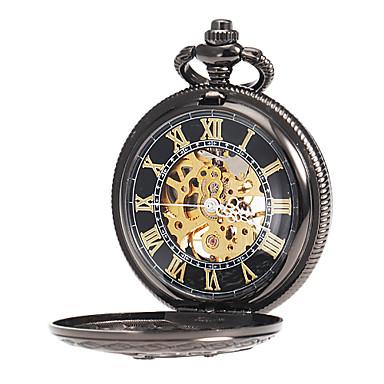 Herrn Mechanischer Handaufzug Mechanische Uhr Taschenuhr Transparentes Ziffernblatt Legierung Band Charme Schwarz